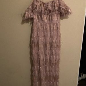 Brand New Pink Feathered Off Shoulder dress